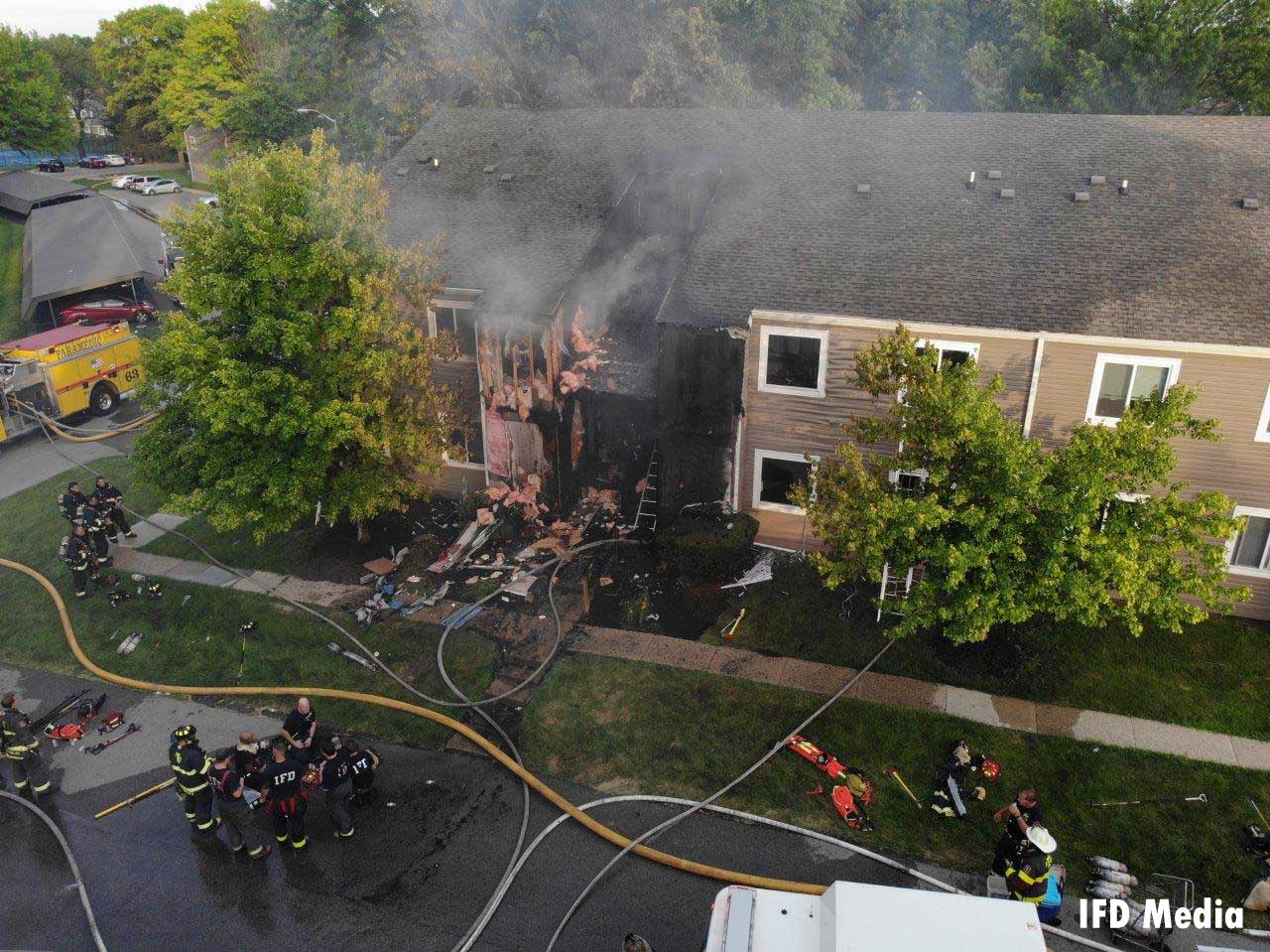A look at the apartment fire scene from above