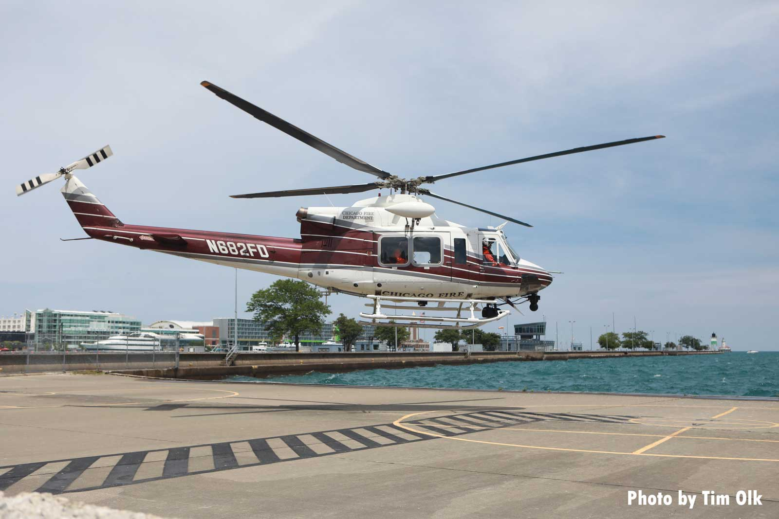 Chicago Fire Department helicopter hovers over launch area