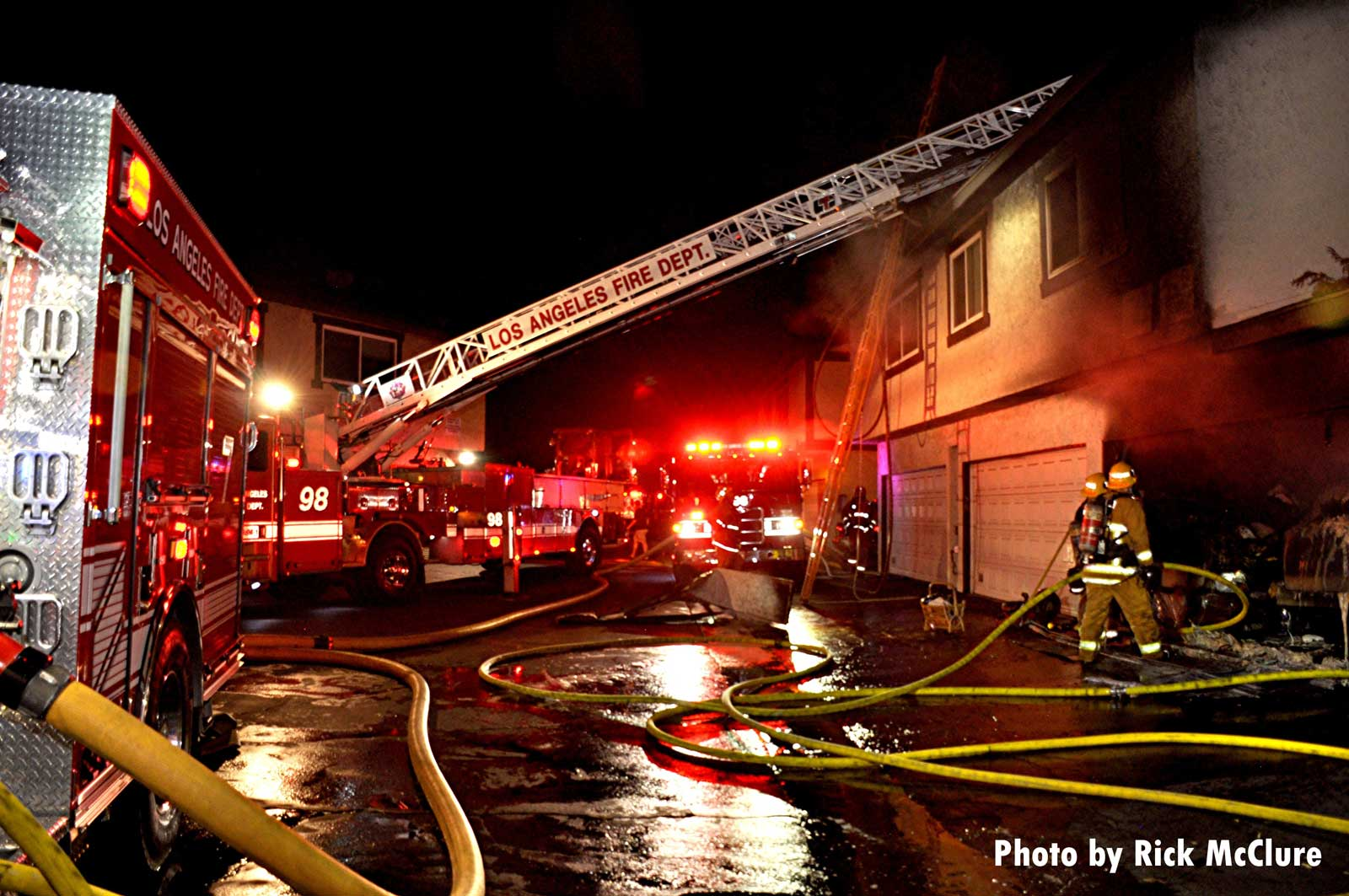 LAFD aerial at structure fire in Panorama City