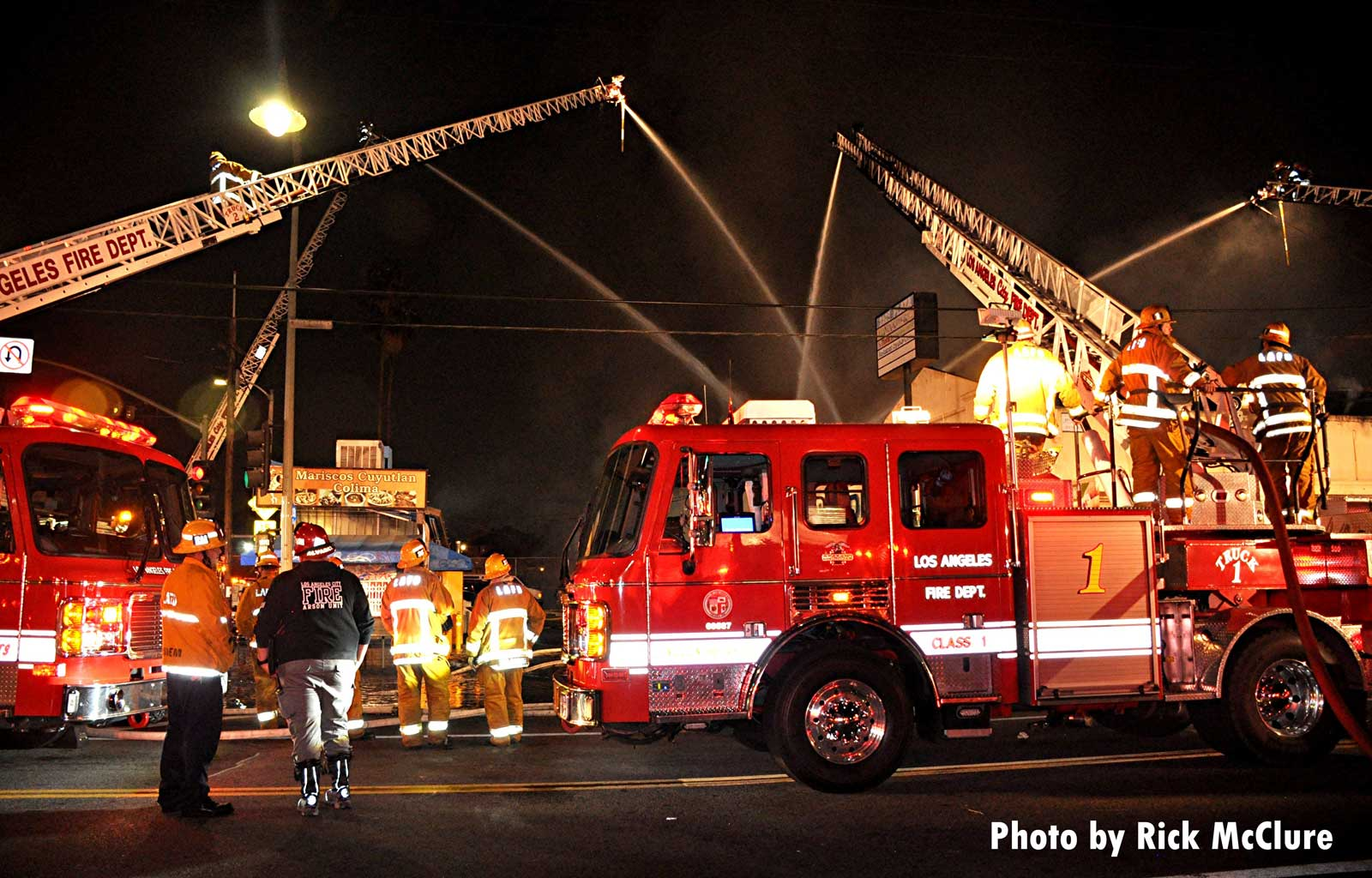 LAFD rigs and elevated master streams