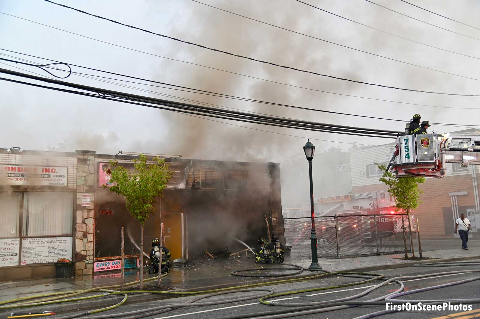 Smoke showing from a storefront