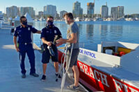 Long Beach Fire Department Marine Safety team return retrieved prosthetic