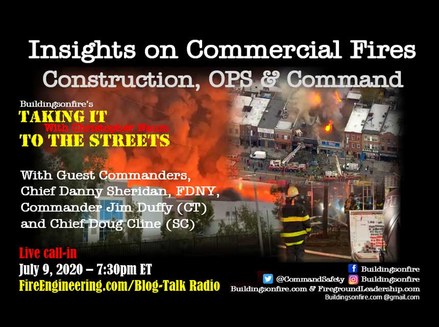Buildingsonfire promo for commercial fires podcast