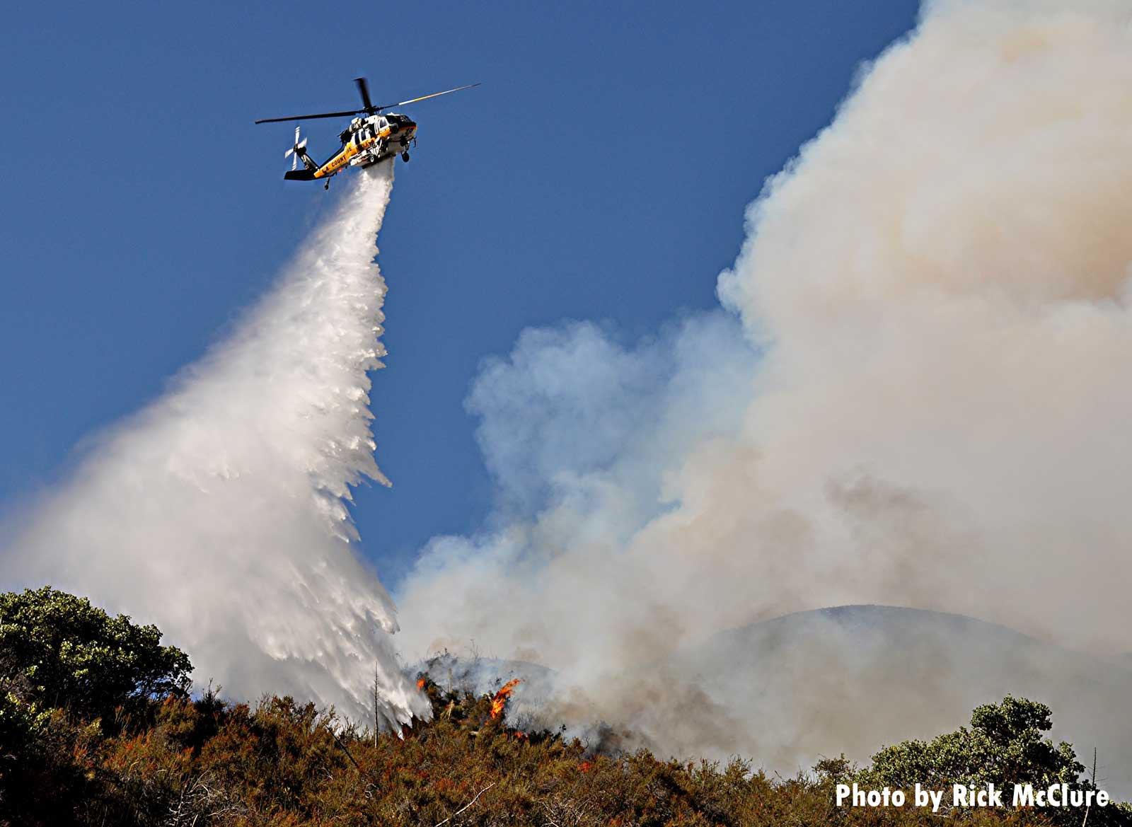 Helicopter drop on Lake Fire