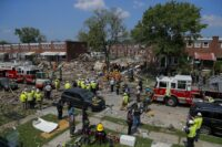 The aftermath of an explosion in Baltimore