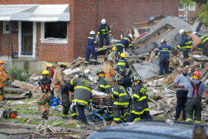 Firefighters at Baltimore explosion