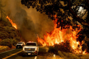 Two fire vehicles on road as wildfire rages