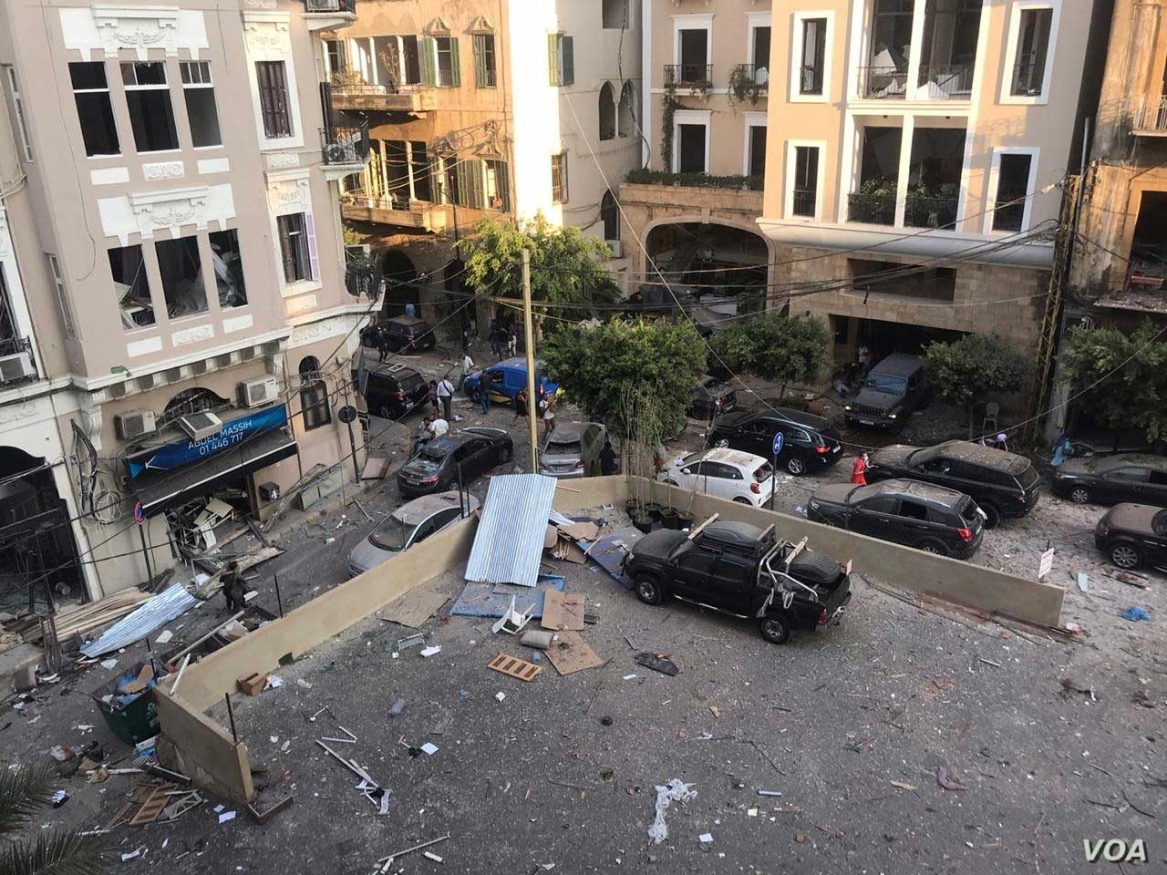 Damage in the aftermath of devastating explosion in Beirut, Lebanon