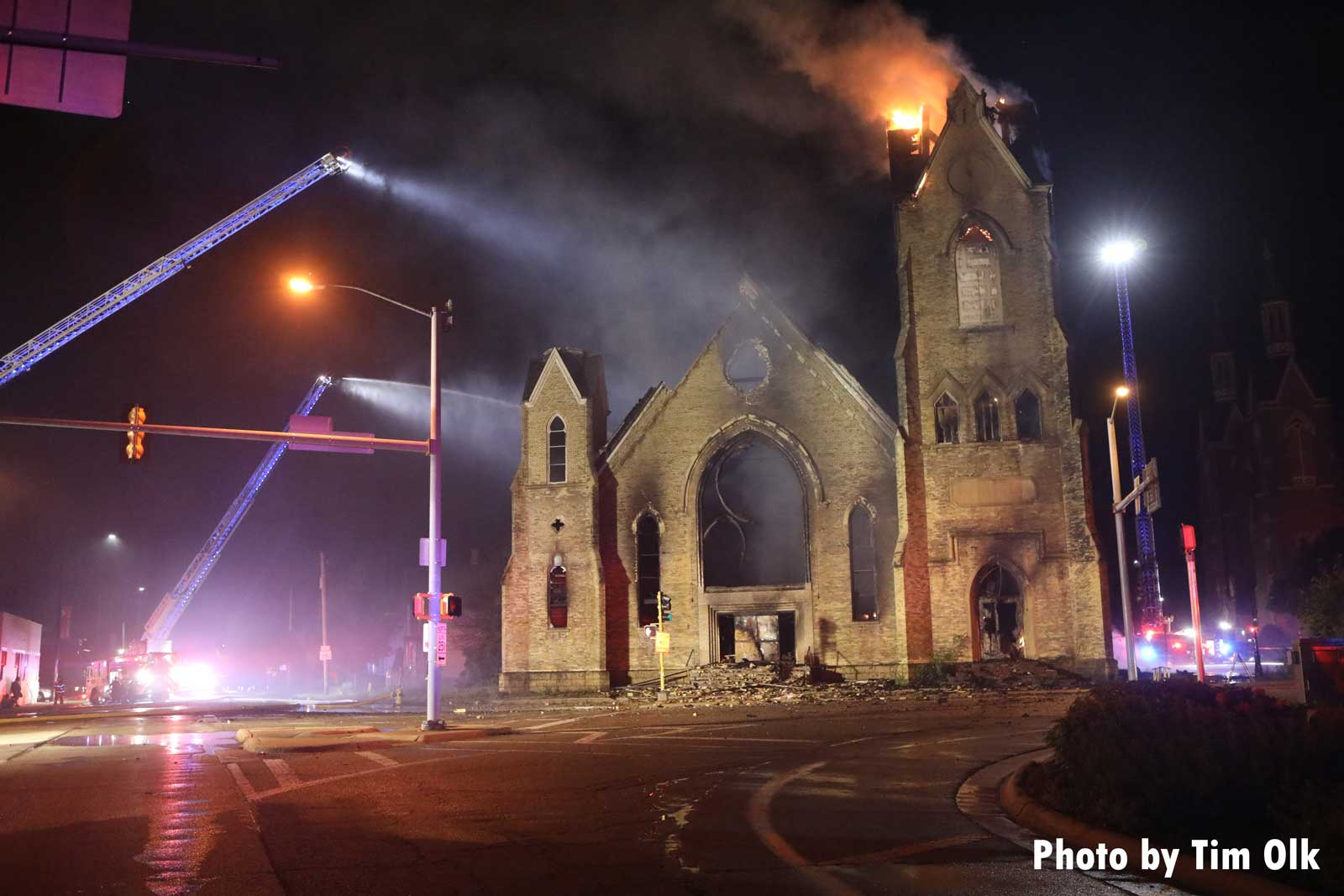Multiple elevated streams aimed at church fire