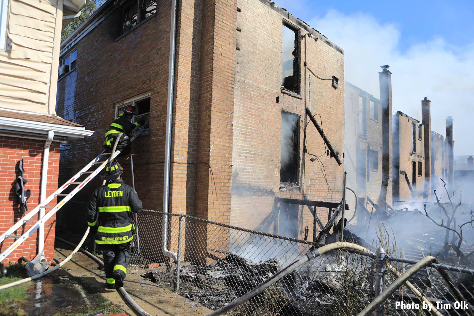 Firefighters at the scene of the fire