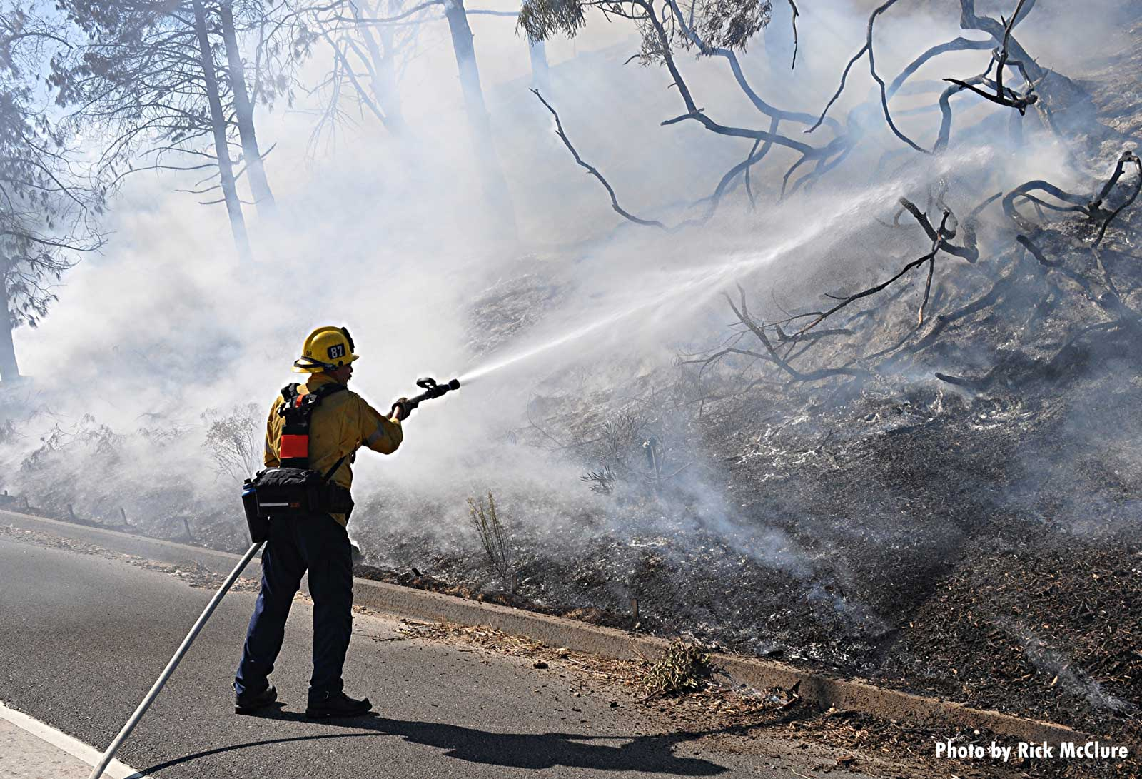 LAFD firefighter with hose stream at brush fire