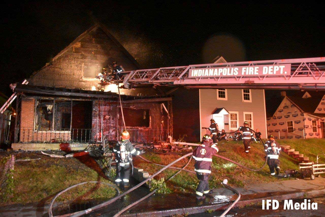 Firefighters at the scene of a fire in Indy