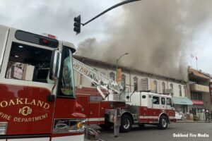 Oakland firefighters respond to five-alarm fire