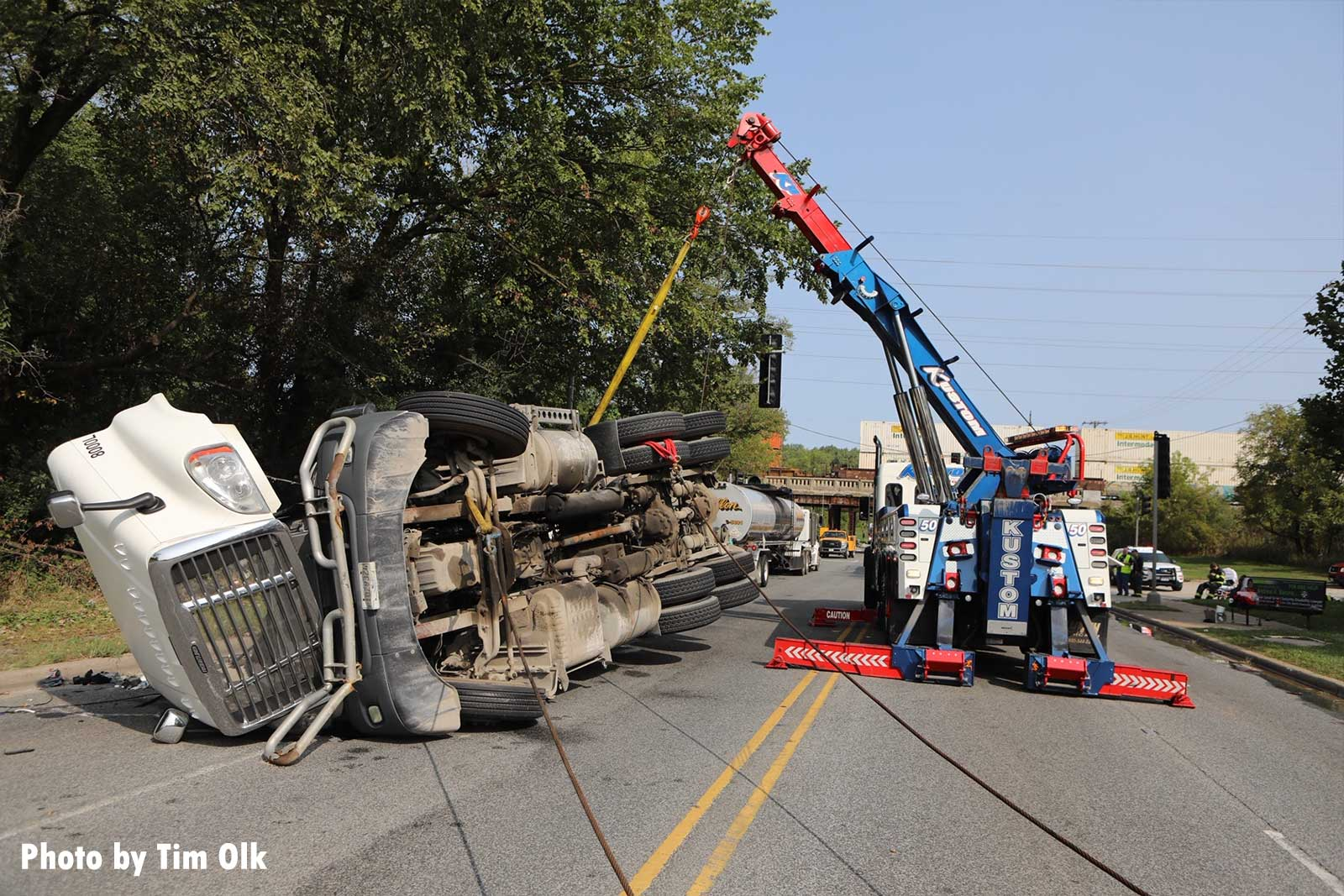 The tanker truck is righted