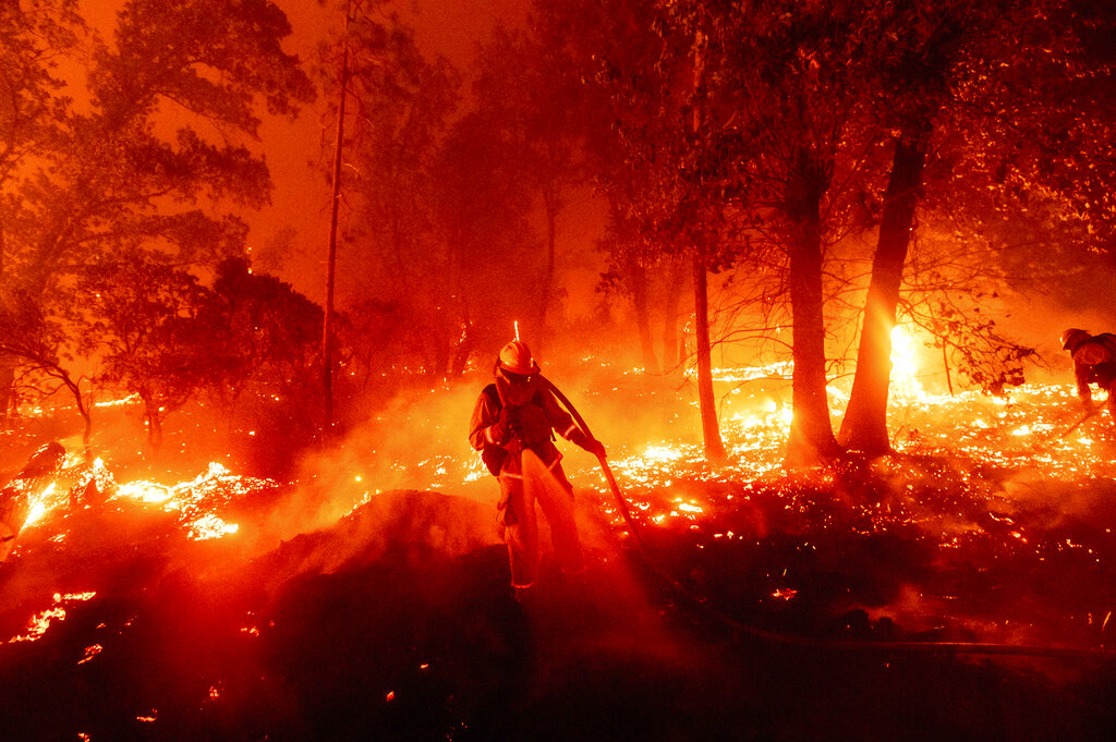 Firefighter in California wildfire