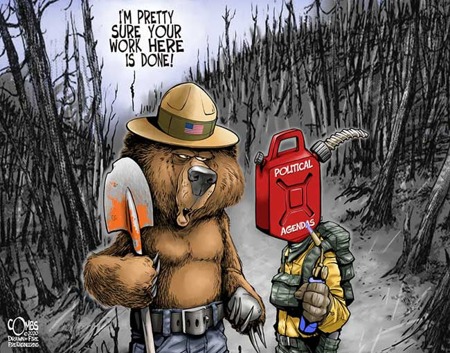 Bear with a shovel talking to gasoline head firefighter