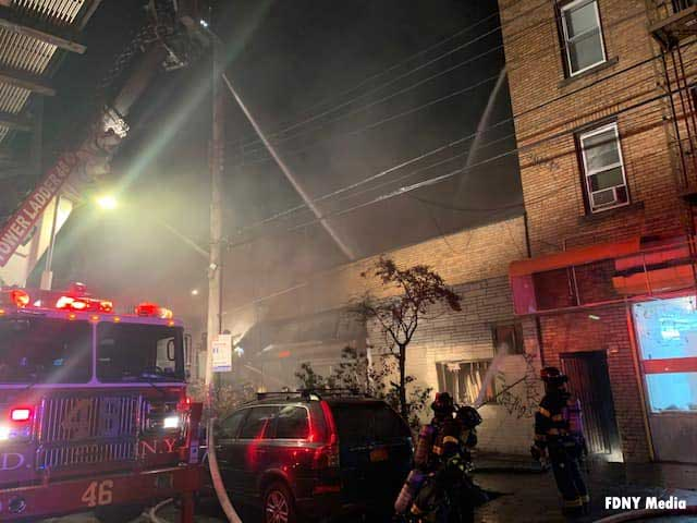 FDNY units at the scene of a fire in the Bronx