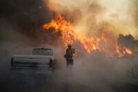 Firefighter facing flames from Silverado Fire