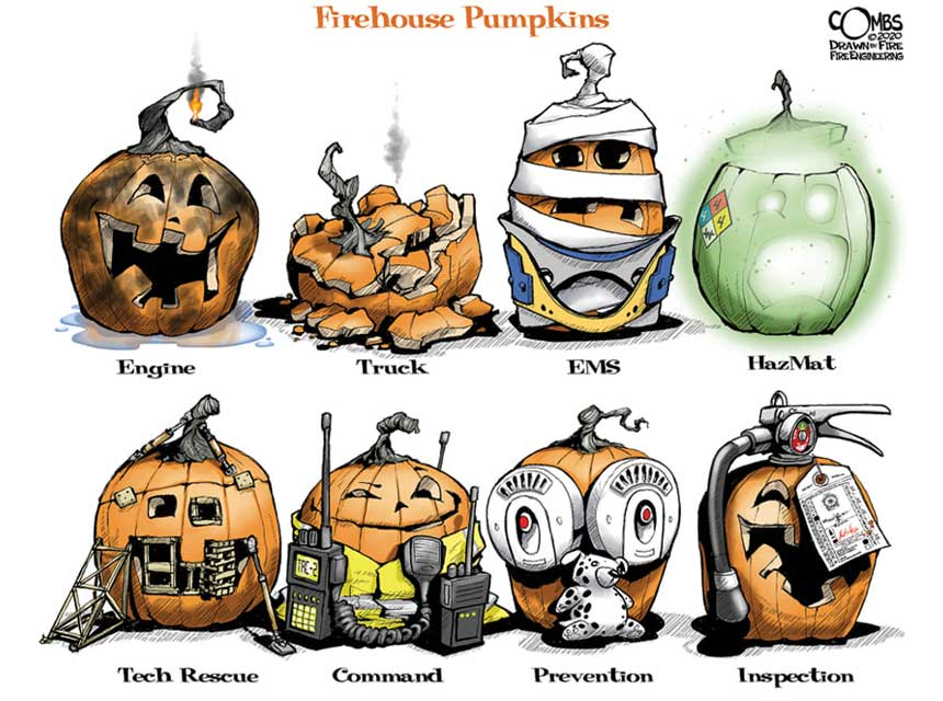 Pumpkins with the various fire service disciplines