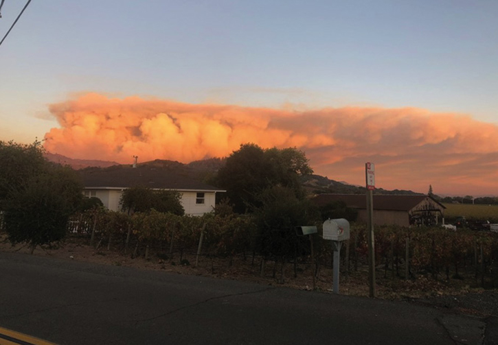 View of the Kincaid Fire from the Geyserville, California, area looking to the hills above the community.