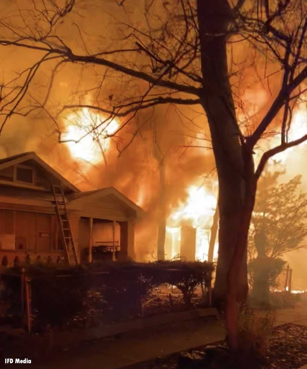 Flames rip through a residential building in Indianapolis