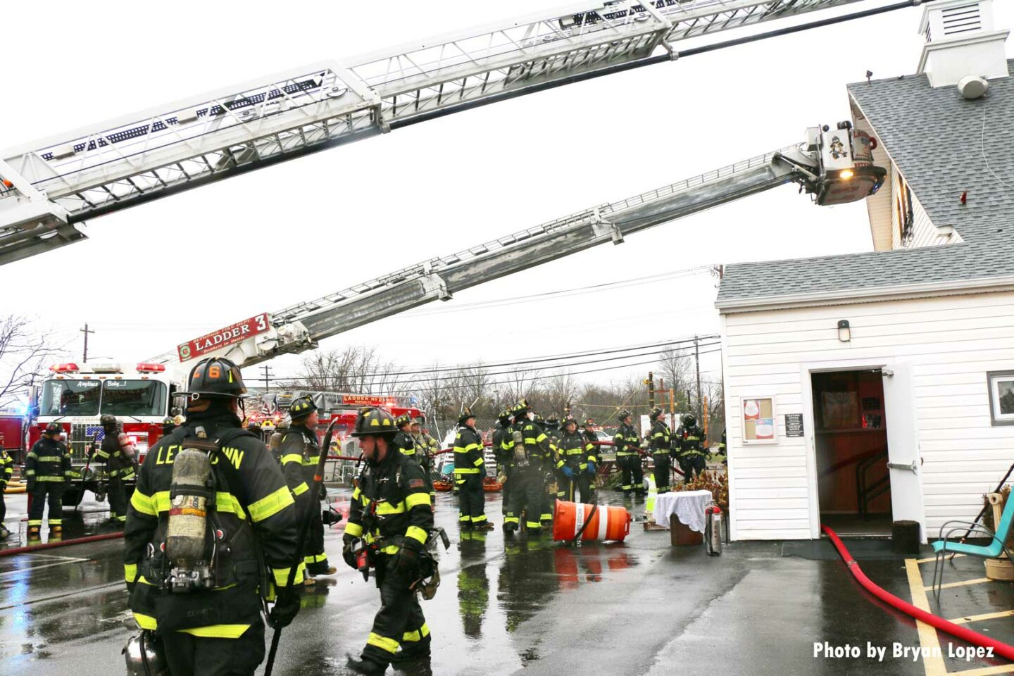 Multiple aerials extended at Long Island church fire