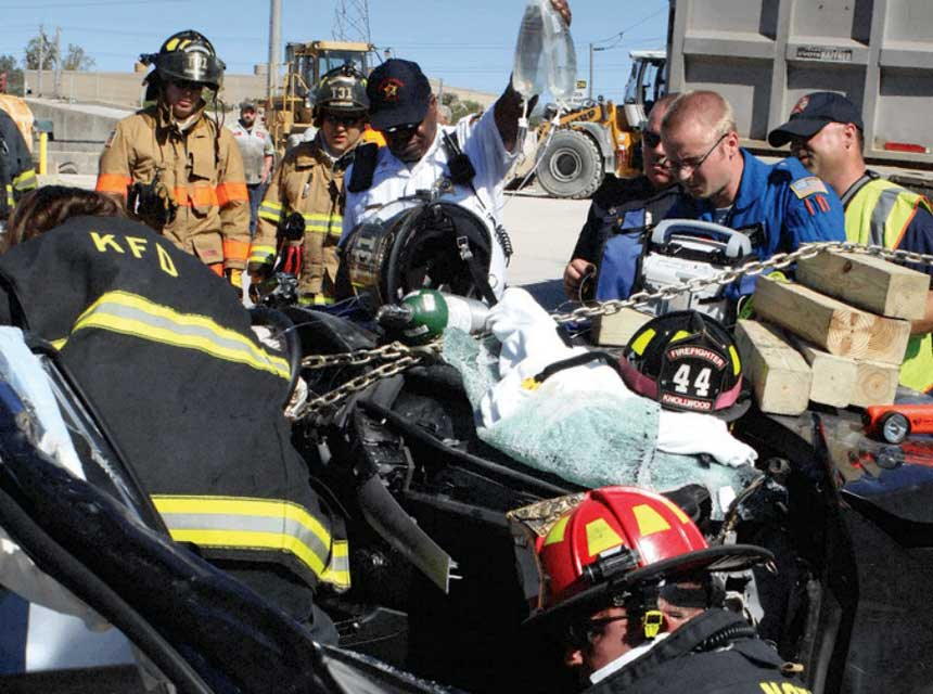Firefighters and medics at a motor vehicle accident
