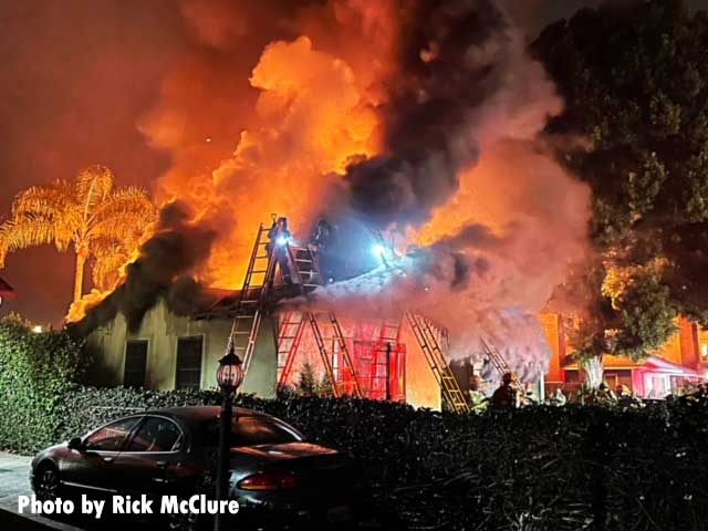 Multiple ladders thrown at California house fire