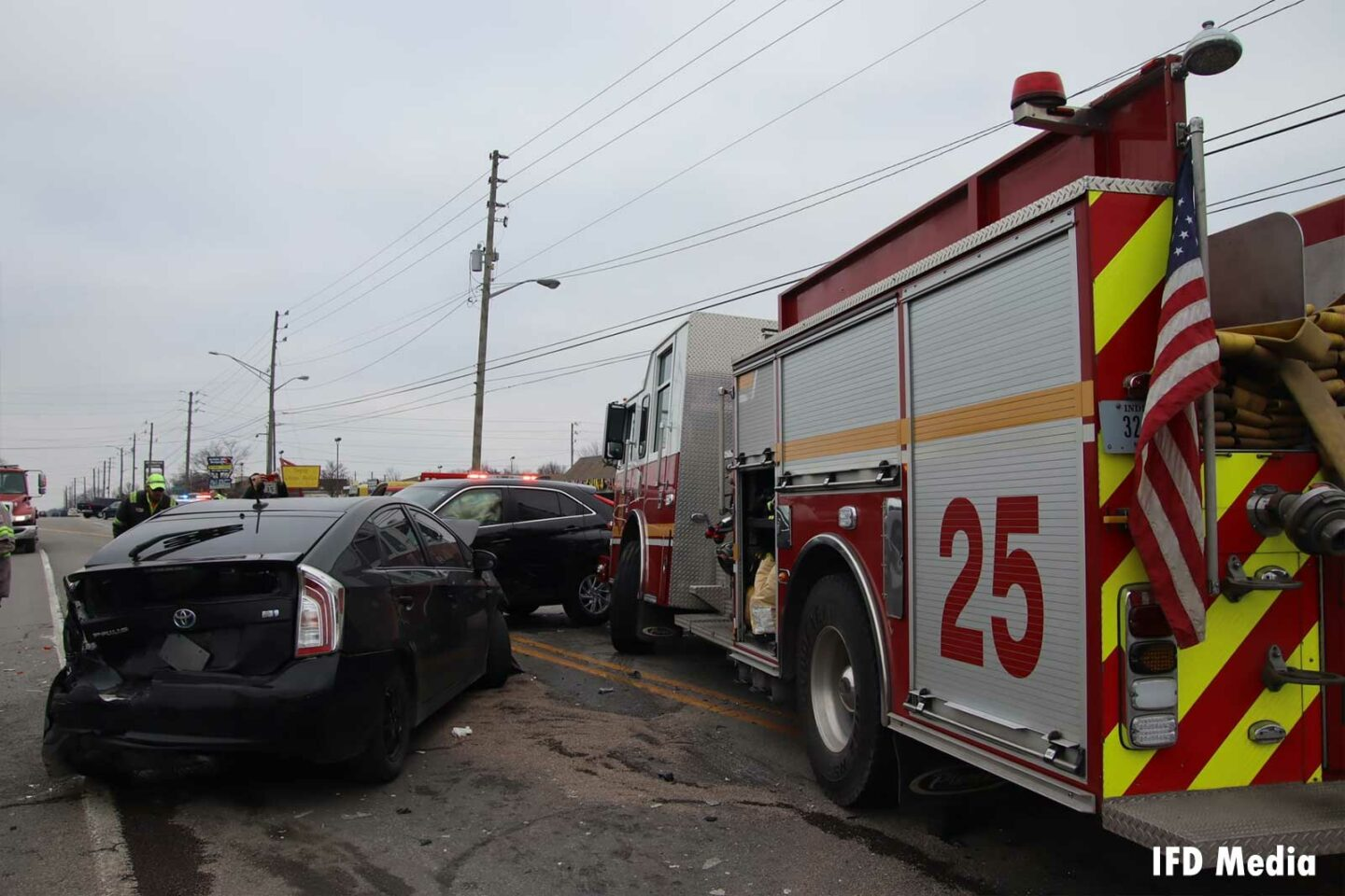 Indianapolis fire truck after collision with two vehicles