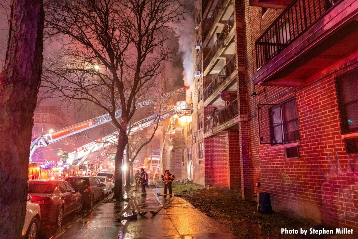 Another view of multiple FDNY aerials being used in the Bronx