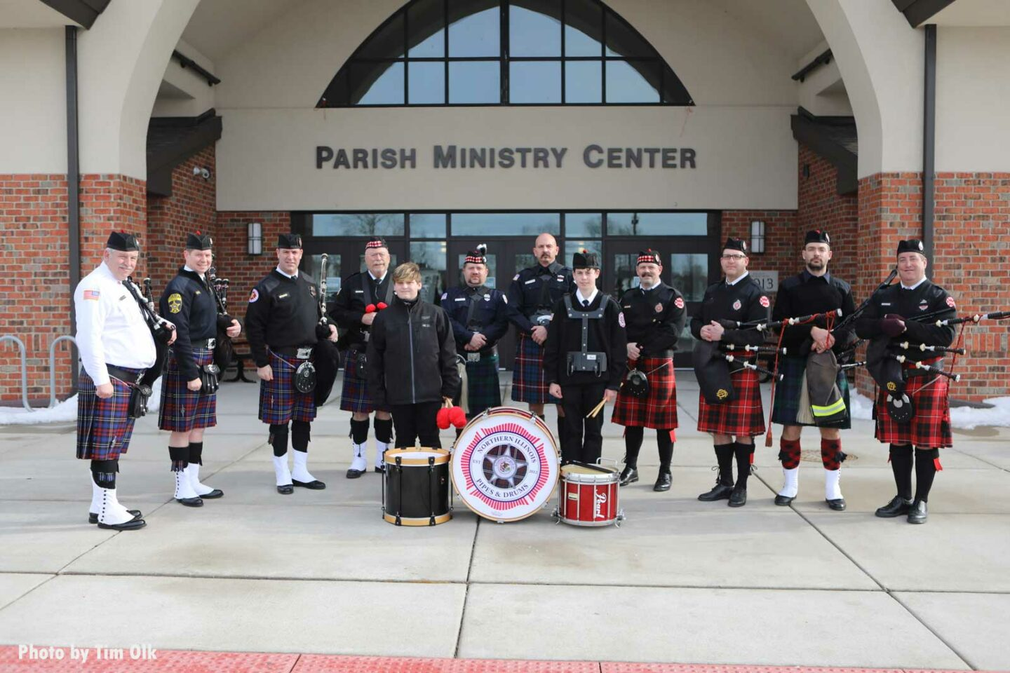 Pipes and drums band at Al Schlick funeral