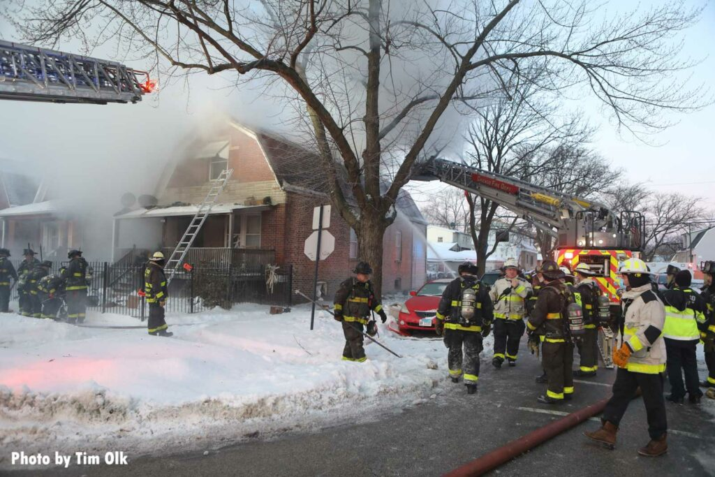 Chicago firefighters at the scene of a house fire