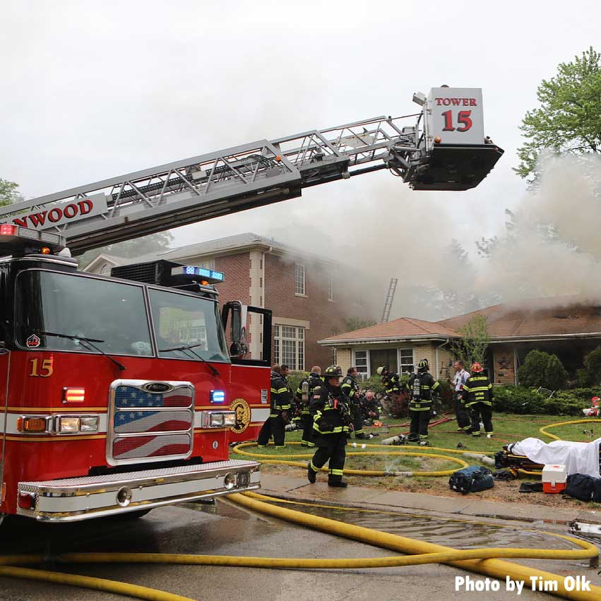 Tower Ladder 15 at house fire in Lincolnwood