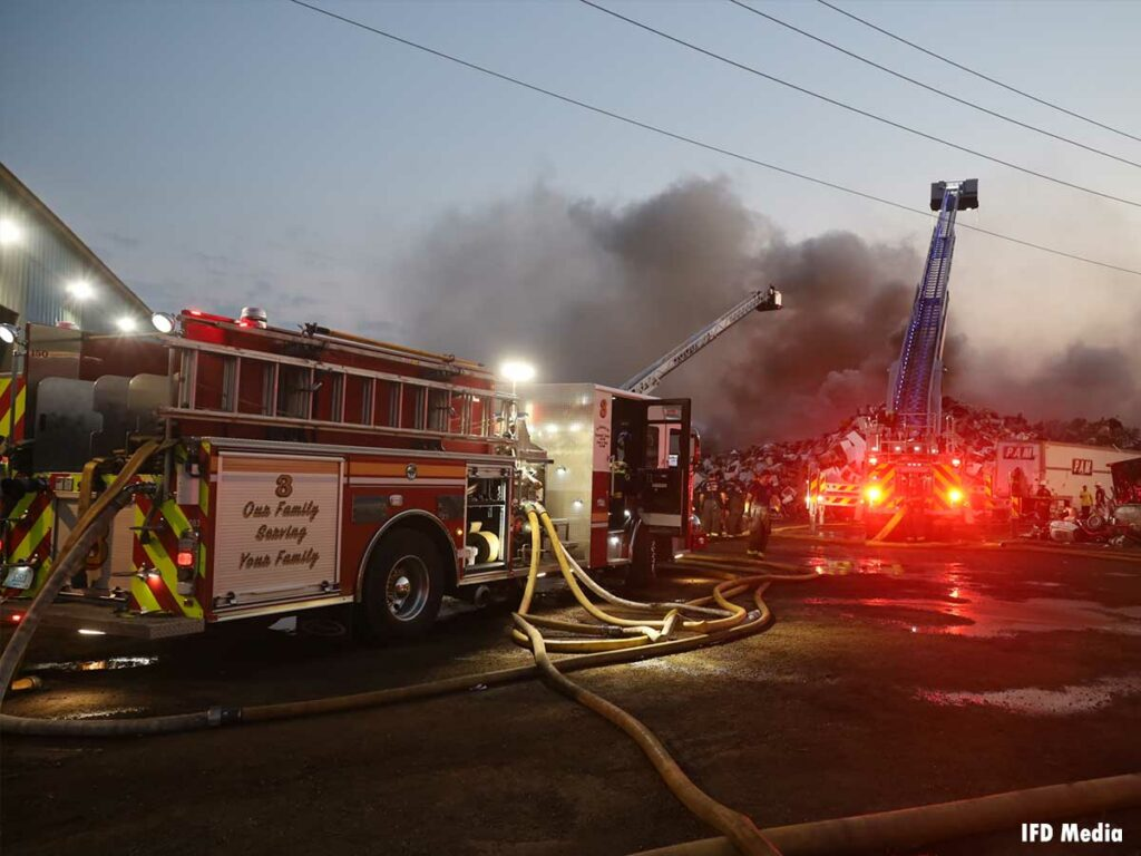 Tower ladders at Indianapolis scrap metal fire