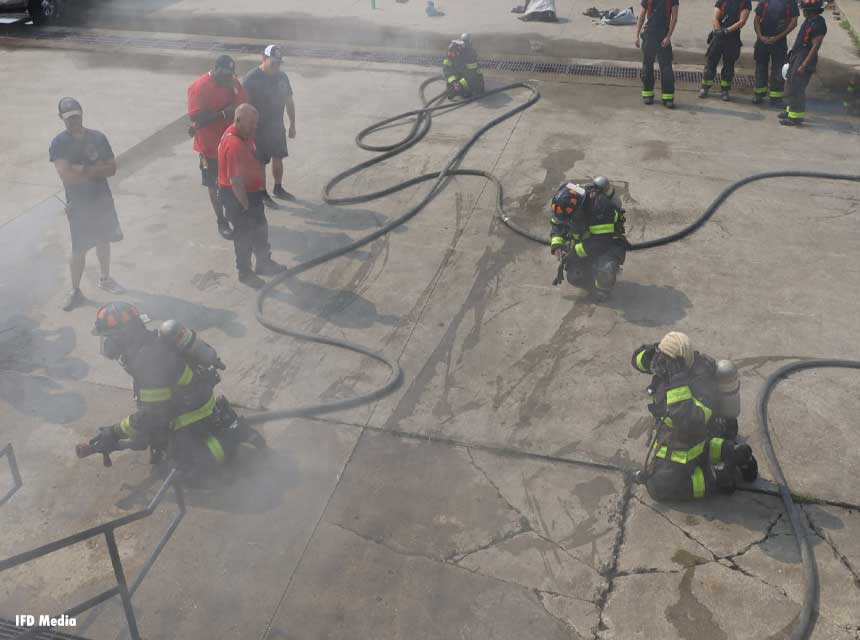 Indianapolis fire recruits at the fire academy