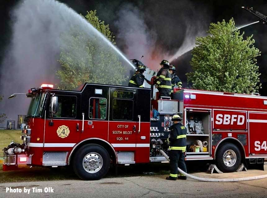 City of South Beloit fire apparatus with firefighters flowing water