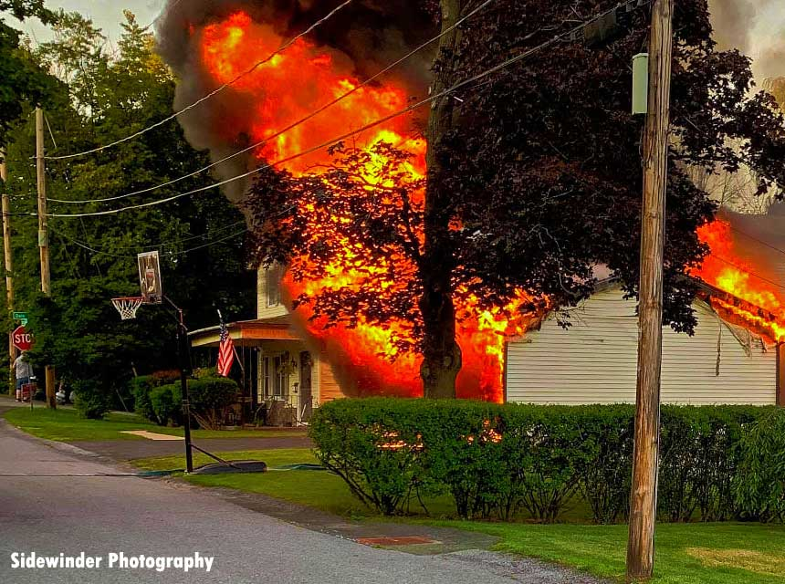 Flames from a fire in Latham, New York