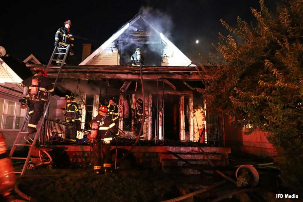 Firefighters operating at the structure fire in Indy
