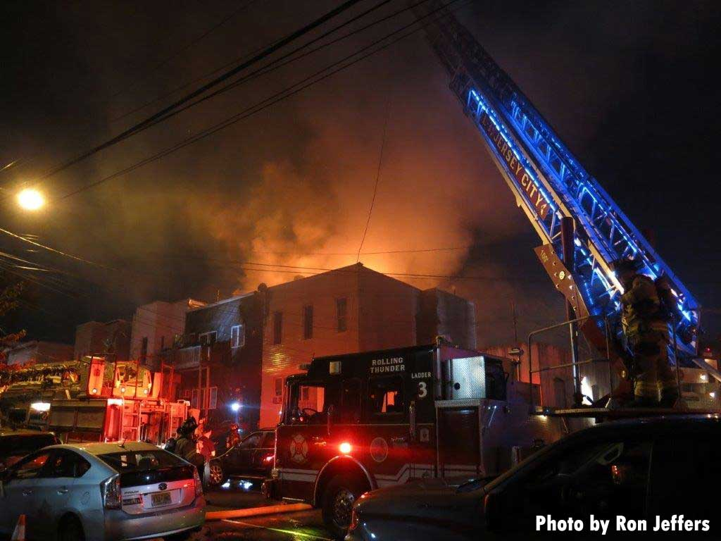 Jersey City aerial in use with flames coming from buildings