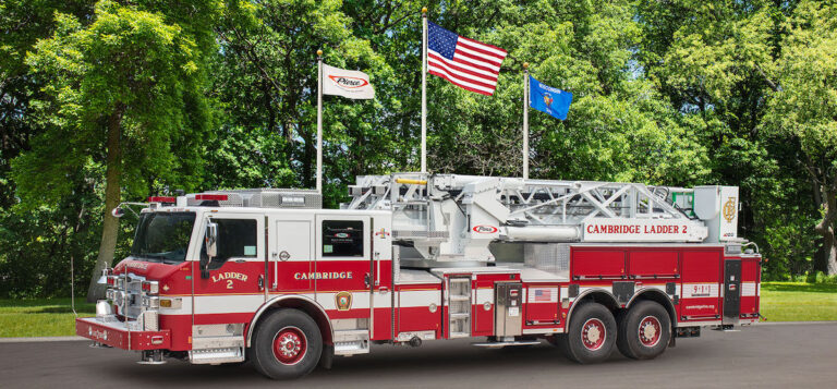 Cambridge Fire Department Accepts Delivery of a Pierce Ascendant Aerial Tower with Idle Reduction Technology