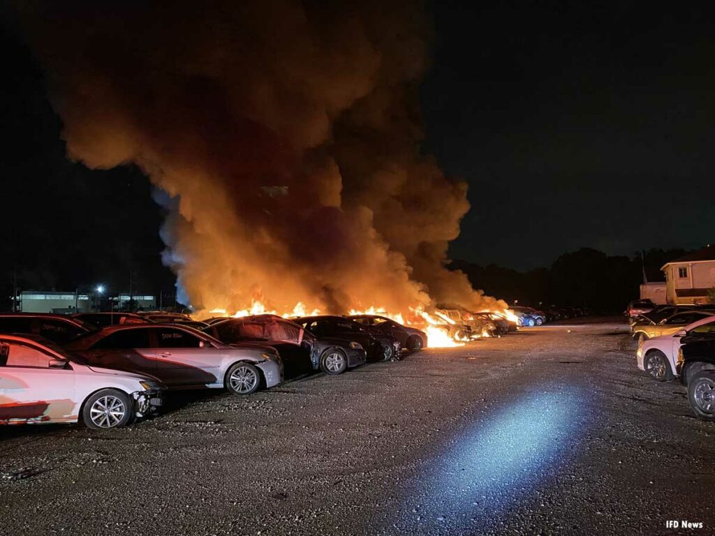 Fire burns a number of vehicles in Indianapolis