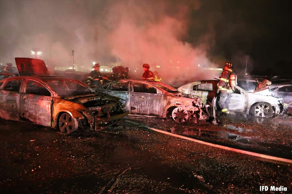 Firefighters among badly burned vehicles