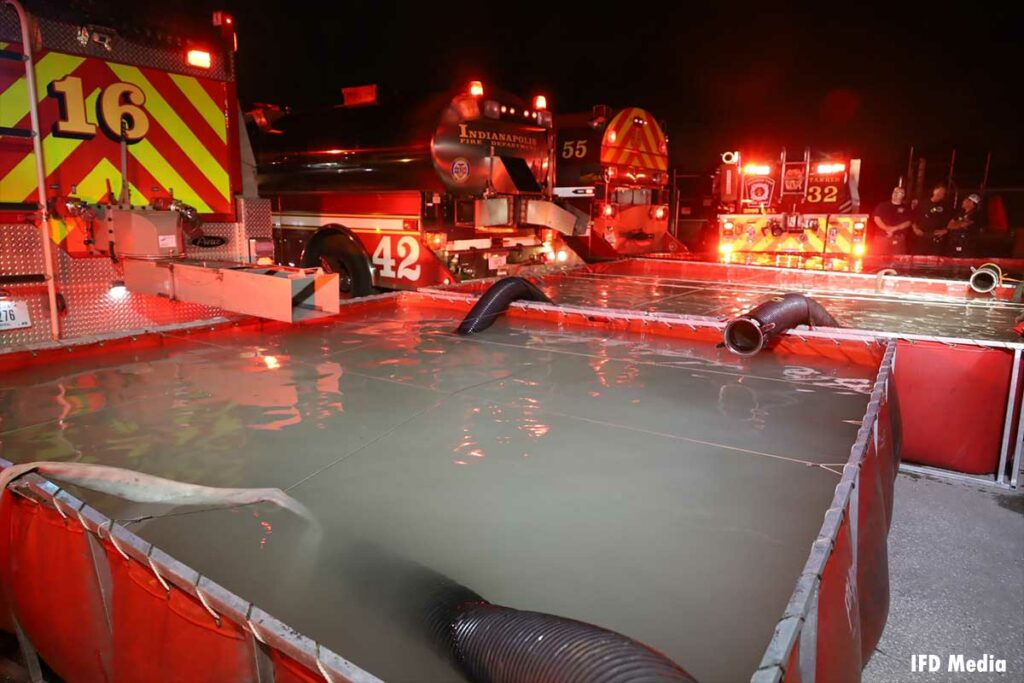 Water tanker shuttle operation for massive vehicle fire