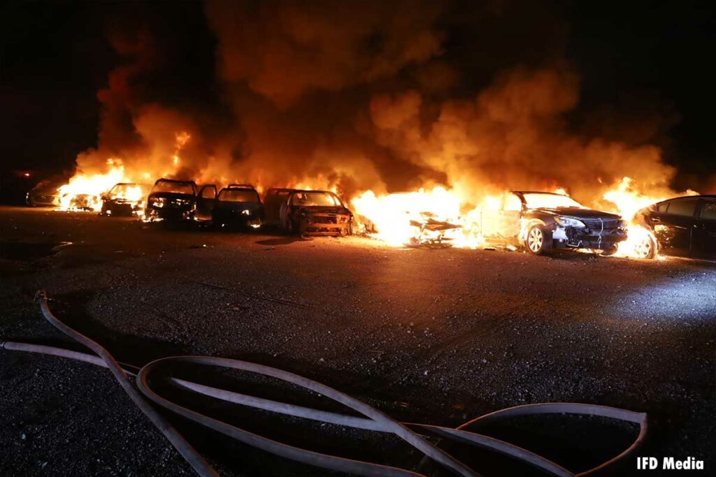 Fire rips through 40 vehicles in Indianapolis
