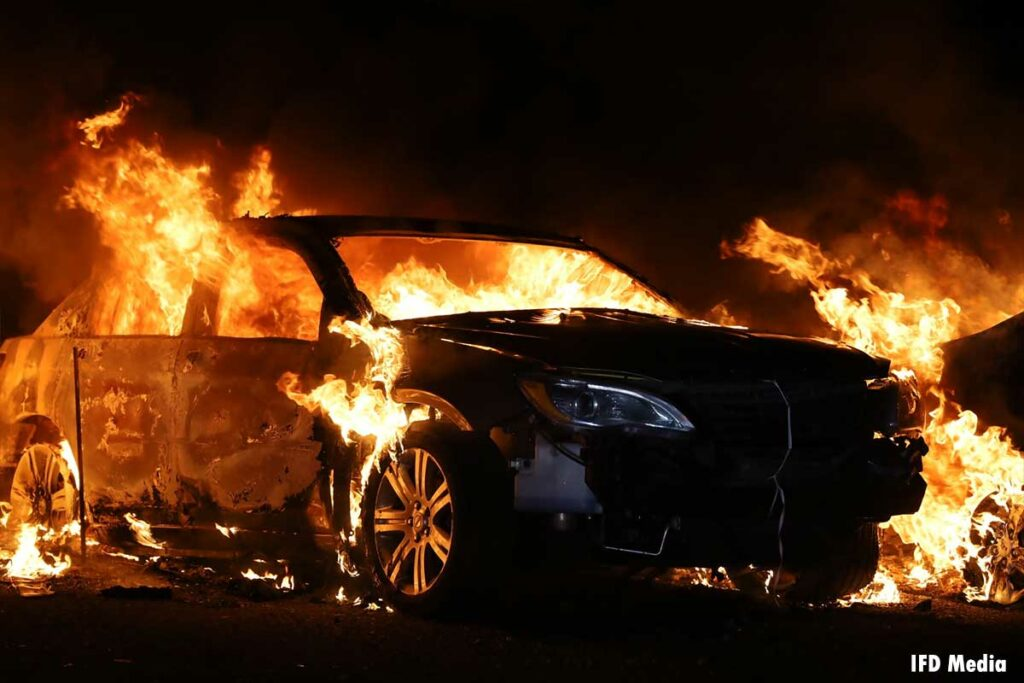 Flames ripping through a car in Indianapolis