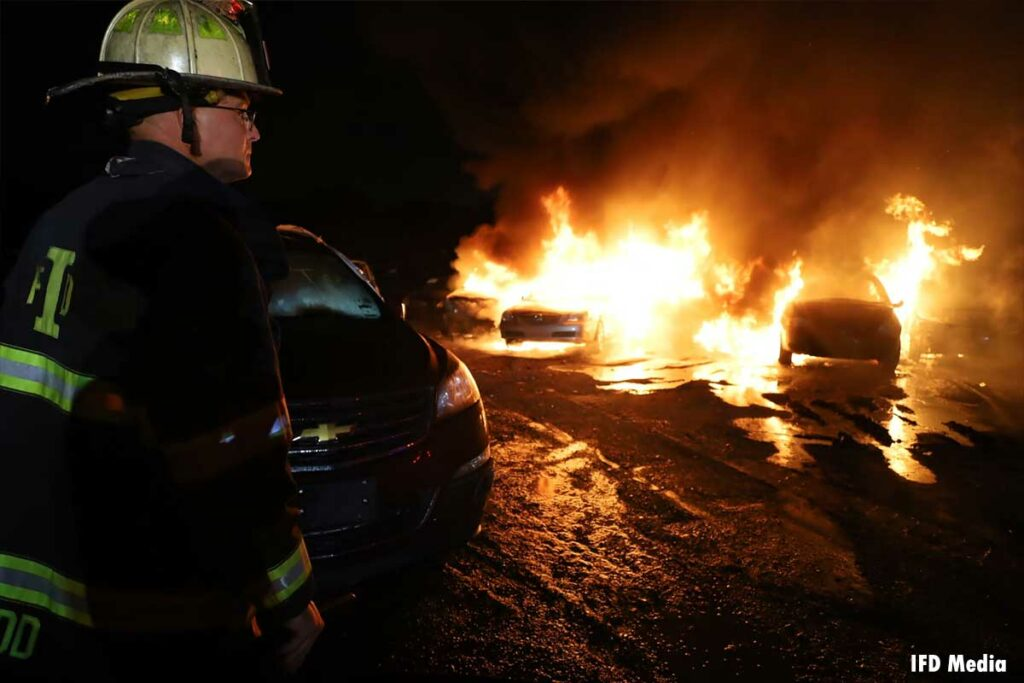 Fire officer observes flames roasting cars in Indianapolis