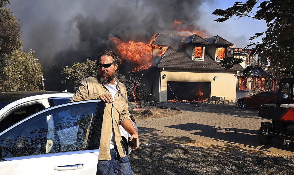 Fire burns home in small California town
