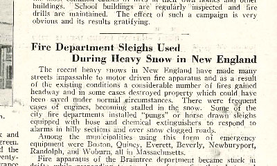 News headline of Massachusetts firefighters having to use sleighs to get to fire scenes in 1926.