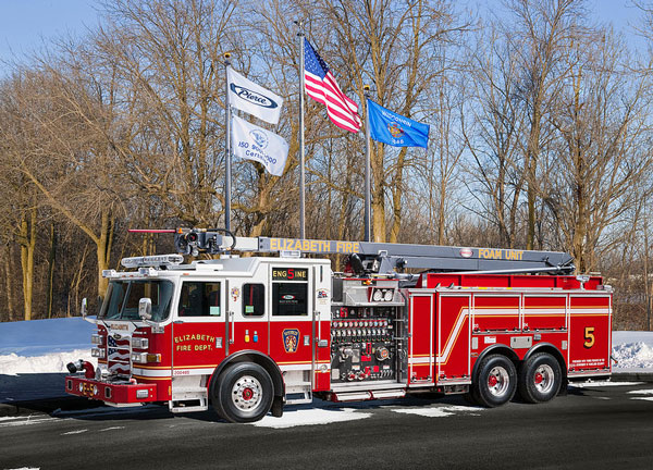 Pierce Arrow XT Equipped with Snozzle Aerial Device on Duty with Elizabeth (NJ) Fire Department