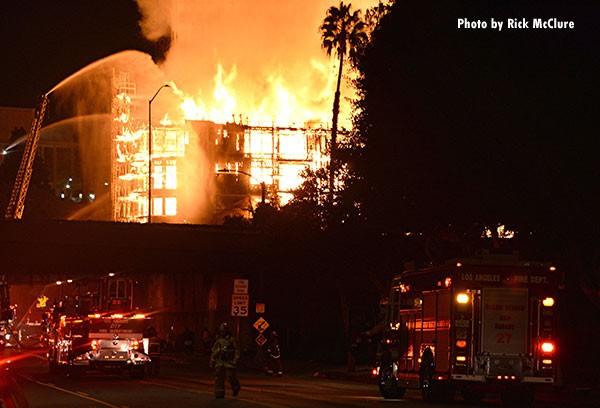 Structural Firefighting: A photo by Rick McClure of a massive downtown Los Angeles fire in 2014.